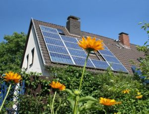 eco-friendly house with solar panels